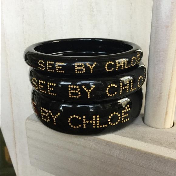 fa2b60e730627 See By Chloe Jewelry | Black Stackable Bangles | Poshmark
